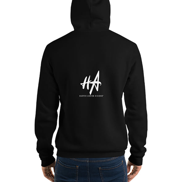 Back of Grace and Empire Unisex Fleece Pullover Hoodie in Black by Harper Ashton Designs