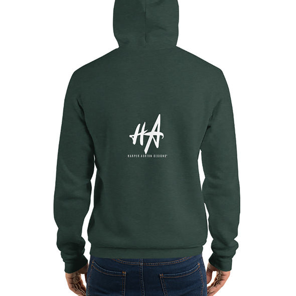 Back of Grace and Empire Unisex Fleece Pullover Hoodie in Heather Forest by Harper Ashton Designs