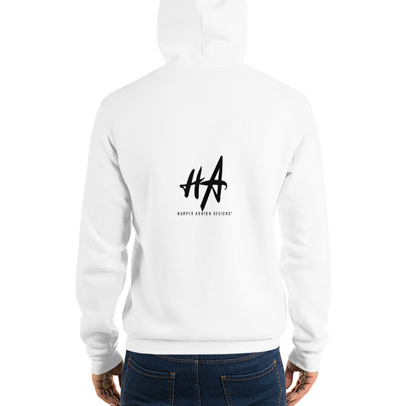 Back of Grace and Empire Unisex Fleece Pullover Hoodie in White by Harper Ashton Designs
