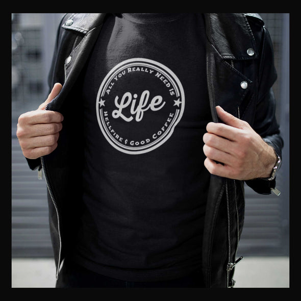 Life Long Sleeve Tee Hellfire and Good Coffee in Black by Harper Ashton Designs