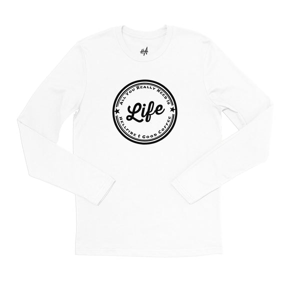 Life Long Sleeve Tee Hellfire and Good Coffee in White by Harper Ashton Designs