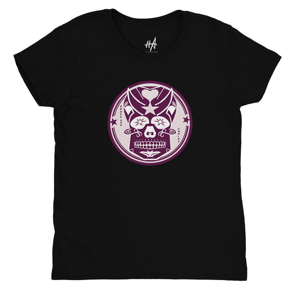 Pink Skully Circle of Grace Womens Fashion Fit Tee in Black by Harper Ashton Designs