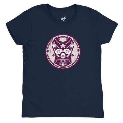 Pink Skully Circle of Grace Womens Fashion Fit Tee in Navy by Harper Ashton Designs