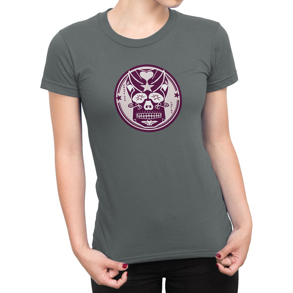 Pink Skully Circle of Grace Womens Fashion Fit Tee in Storm Grey by Harper Ashton Designs