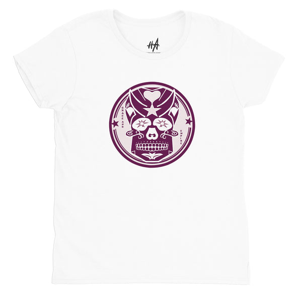Pink Skully Circle of Grace Womens Fashion Fit Tee in White by Harper Ashton Designs