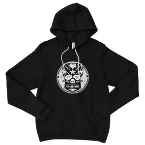 Skully Circle of Grace Pullover Fleece Hoodie in Black by Harper Ashton Designs