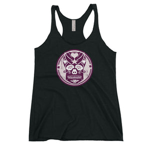 Pink Skully Circle of Grace Womens Racerback Tank in Vintage Black by Harper Ashton Designs