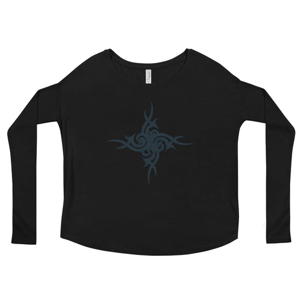 Urban Tribal Flowy Boho Long Sleeve Tee in Black by Harper Ashton Designs