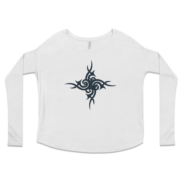 Urban Tribal Flowy Boho Long Sleeve Tee in White by Harper Ashton Designs