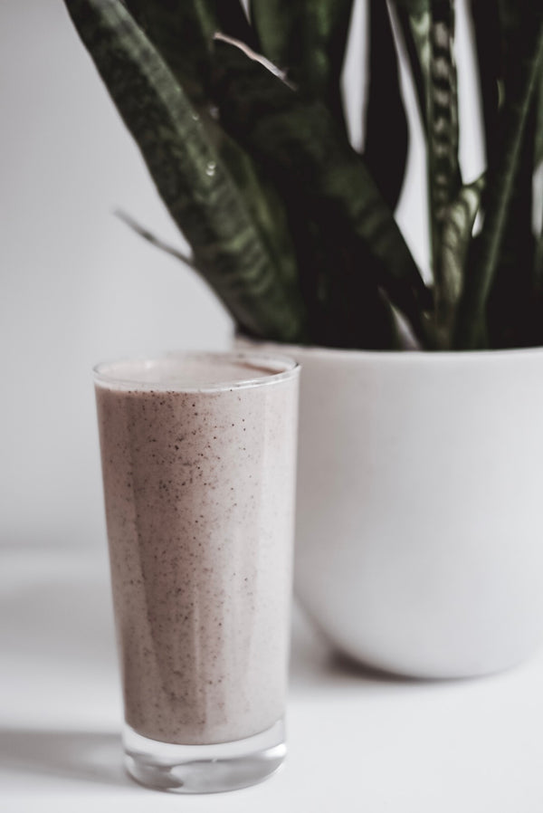 Aurelian CBD smoothie with snake plant in the background