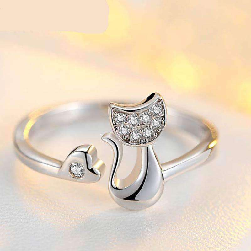 Crystal Cubic Inlaid Cat Ring, , CatSaviours, CatSaviours