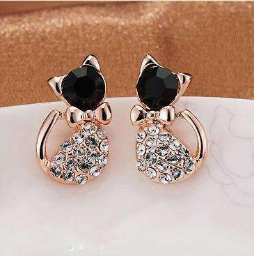 Sparkling Cat Stud Earrings, , CatSaviours, CatSaviours