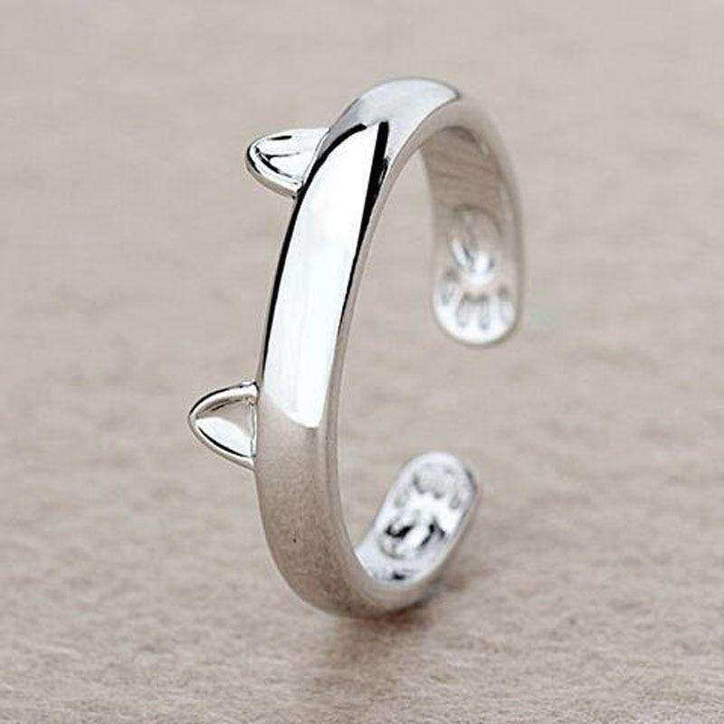 Silver Plated Cat Ear Ring, , CatSaviours, CatSaviours