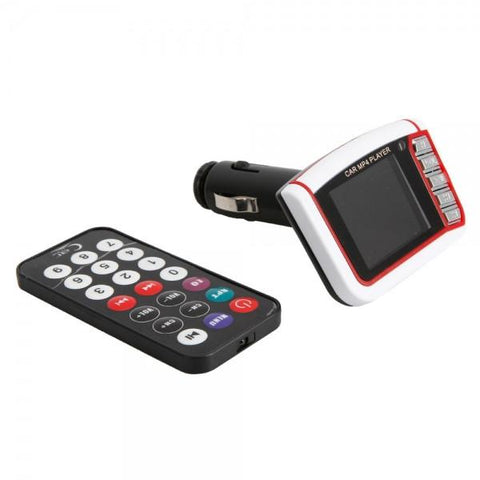 "1.8"" LCD Car MP4 Player Wireless FM Transmitter White & Red"