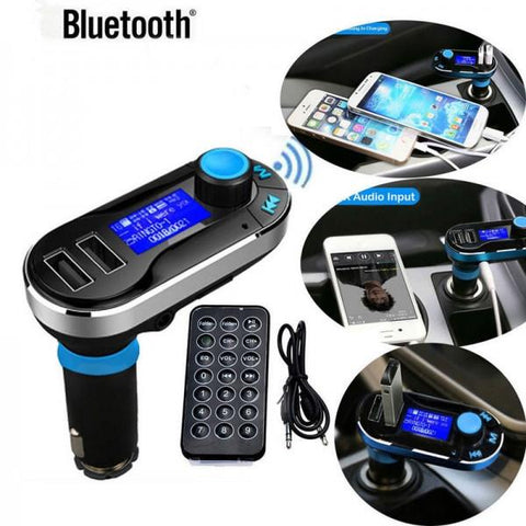 BT66 Wireless Bluetooth Car Kit MP3 Player FM Transmitter SD LCD Dual USB Charger Blue