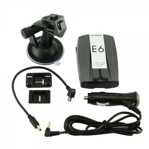 "E6 2"" LED GPS Navigator Car Radar Laser Detector with English Voice Alert Grey & Silver & Black"