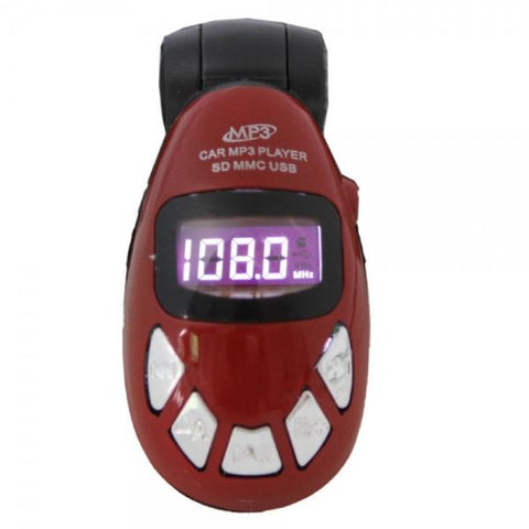 FM Transmitter Beetle Car MP3 Player Short Card with Remote Control without Package Red