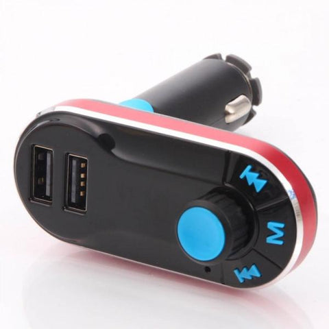 T66 Car MP3 Player Car Kit FM Transmitter Dual USB Car Charging w/Remote Red-black