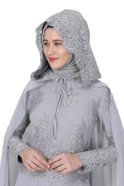 Evening Lace Top long Sleeve Dress & Cape with Hood