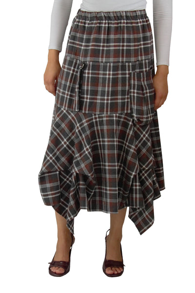 Midi Plaid Layered Skirt