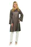 Loose Tunic with Foiled Tulle Front
