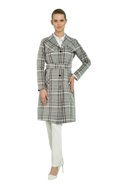 Plaid Trench-coat