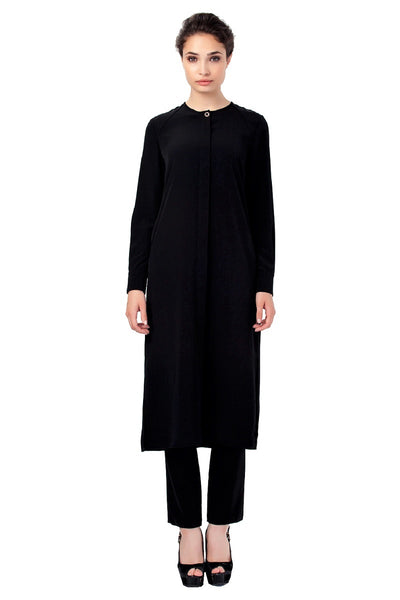 Large Sizes Button Front Long Tunic