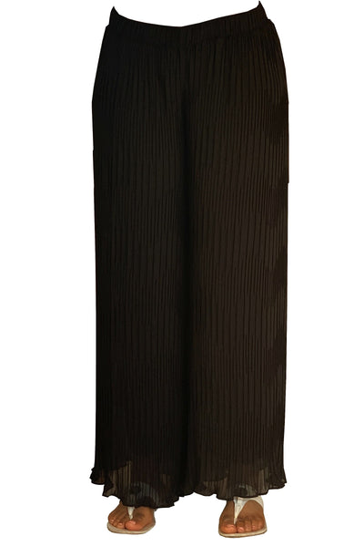 Permanent Pleated Wide Legs Chiffon Pants