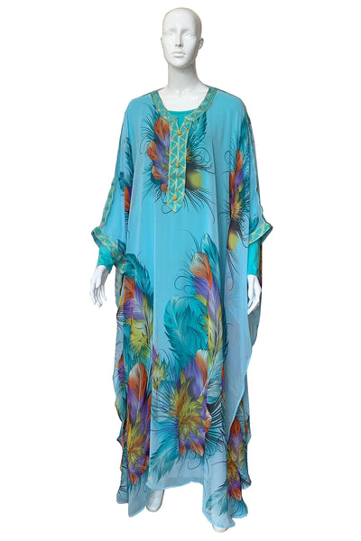 Illustrated Feather Print Chiffon Kaftan Gown