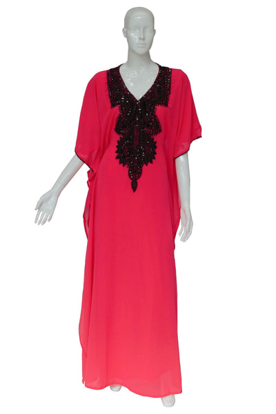 Square Black Beads Chiffon Summer Kaftan