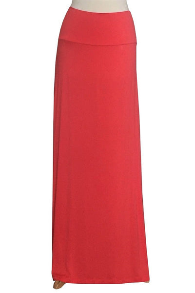 Fold Over High Waist Maxi Skirt
