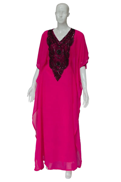 Round Black Beads Chiffon Summer Kaftan
