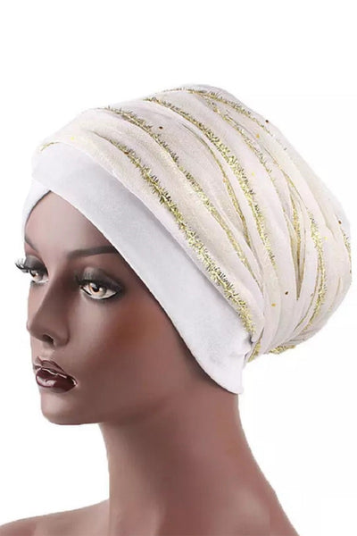 Gold Sequences Mesh Velvet Turban