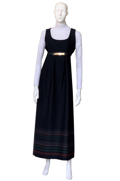Horizontal Striped Navy Maxi Dress
