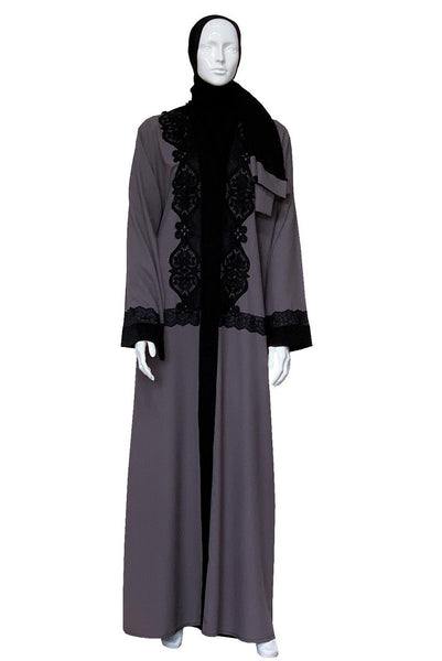 Grey Black Lace Abaya & Sheila