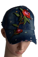 Teens Embroidered Rose Denim Cap