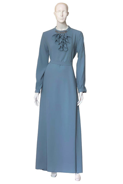 Long Sleeves Dress with Neck Tie and Crystals