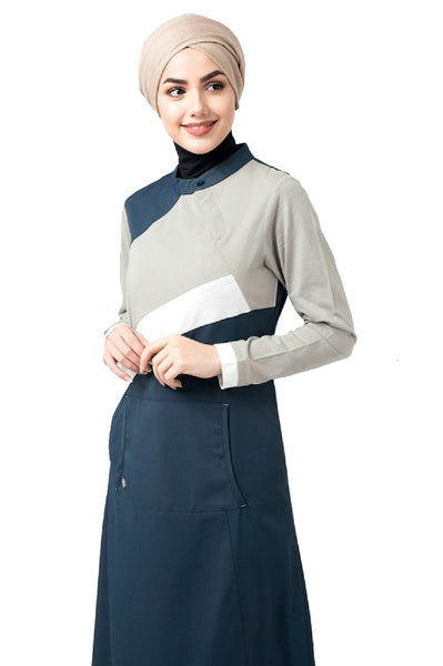 Button Neck Grey and Blue Jilbab