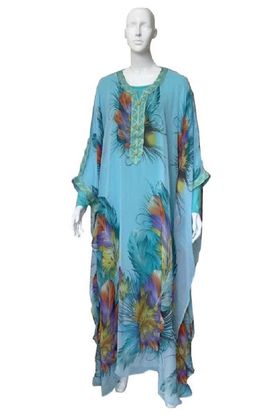 Illustrated Rose Print Chiffon Kaftan Gown