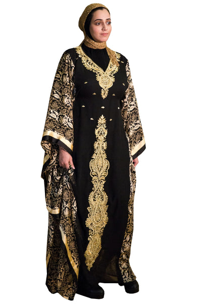 Chiffon Foulard Caftan with Gold Embroidery