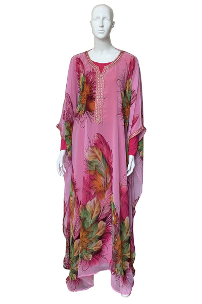 Illustrated Feather Print Chiffon Caftan Gown