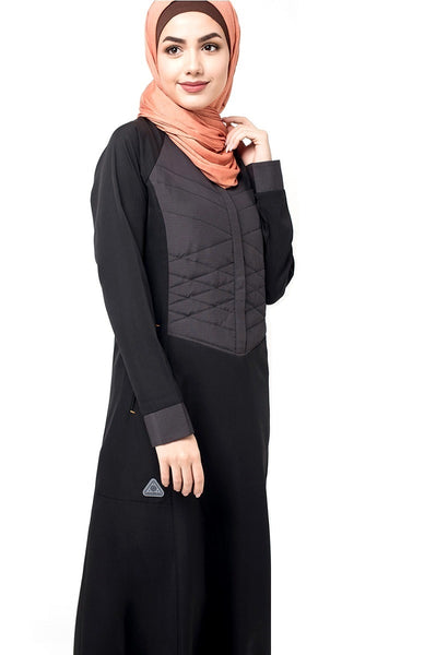 Button Front Quilted Black Jilbab