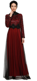 Lace Top Long Sleeves Chiffon Dress