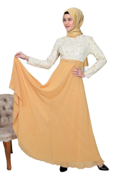 Fancy Top Long Sleeves Chiffon Dress
