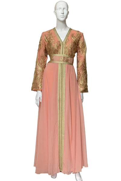 Gold Lace & Pearls Chiffon Dress