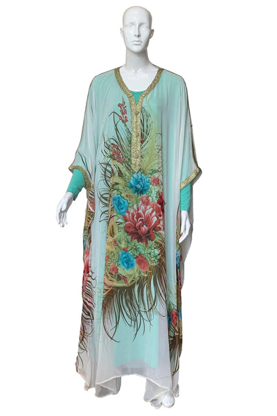 Illustrated Rose Print Chiffon Caftan Gown
