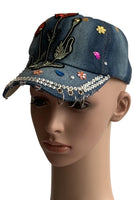 Kids Embroidered Rose Denim Cap