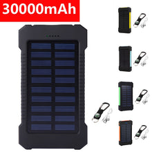 Load image into Gallery viewer, Dual USB Solar Power Charger Waterproof 30000mAh Portable Solar Powered Dual USB Battery Power Bank