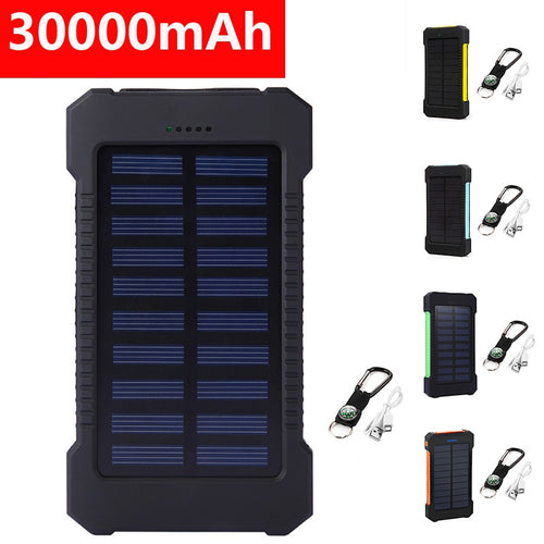 Dual USB Solar Power Charger Waterproof 30000mAh Portable Solar Powered Dual USB Battery Power Bank