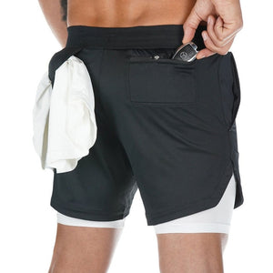 Mens 3 in 1 Quick Dry Workout Shorts with phone & towel holder